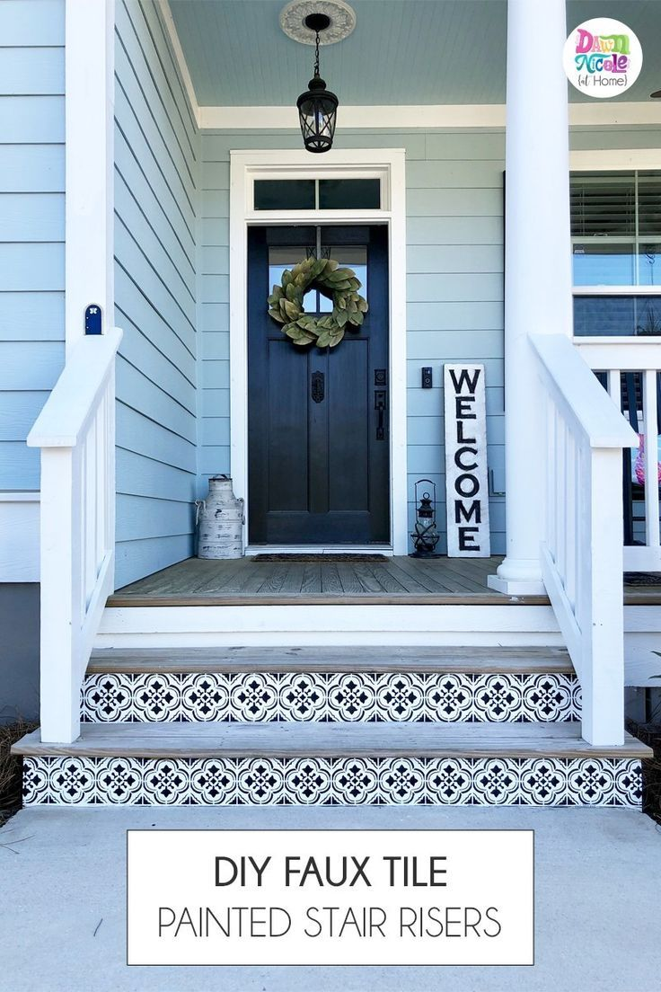 DIY Faux Tile Painted Stair Risers is part of Painted stair risers, Painted stairs, Porch tile, Porch stairs, Stair risers, Painting tile - These stenciled faux Spanish Tiles are a super easy and inexpensive way to add major curb appeal!
