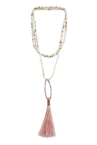 Beaded tassel necklace in white and blush.