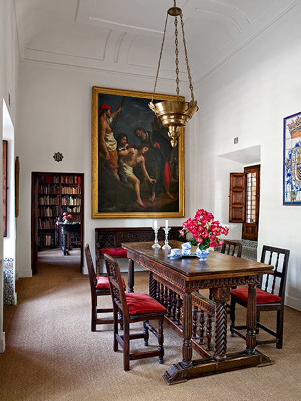 Antique Dining Room Furniture A Work By The Mannerist Painter Cristofano Allori Dominates Which Is Furnished With Spanish Table And