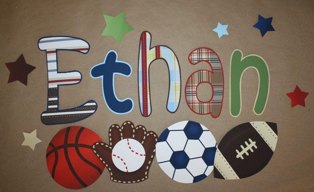 Patterned Sports Boys Bedroom Baby Nursery Wall by