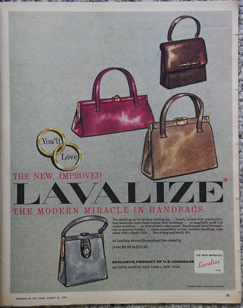 Beautiful 1958 Lavalize Handbag Purse Ad Vintage Clothes 1950 S Dress By Lorisvintageads On Etsy