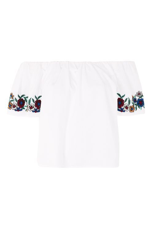 c3982784c5cb1 Embroidered Floral Bardot Top