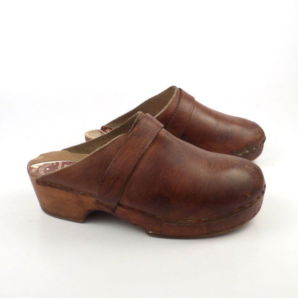 Wooden Clogs Shoes Vintage 1980s