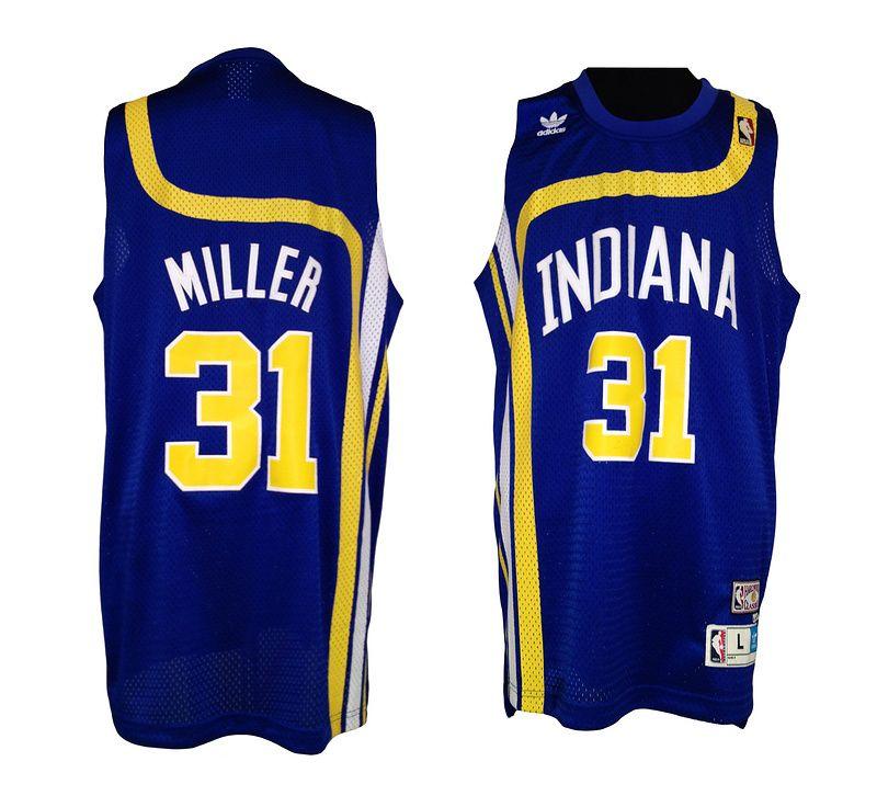 0ac1c785f Adidas NBA Indiana Pacers 31 Reggie Miller Throwback Swingman Blue Jerseys