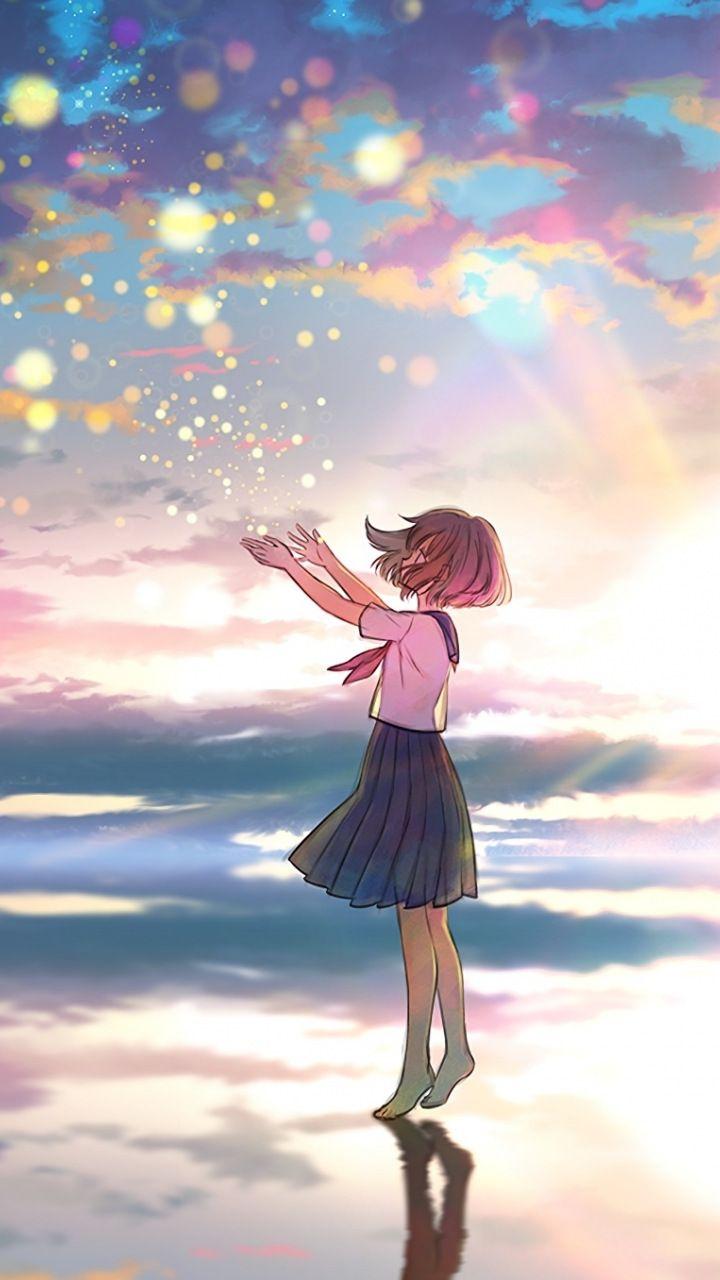 Outdoor, colorful, sky, sunset, original, anime girl, 720x1280 wallpaper