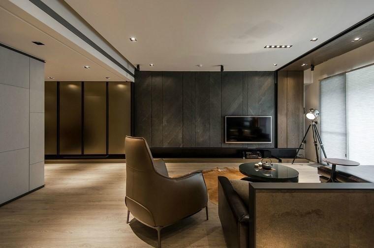 Minimalistische Inneneinrichtung mit Steinwänden Haus, Living - inneneinrichtung