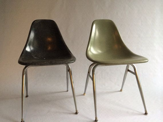fiberglass shell chairs. vintage eames style unmarked fiberglass shell chairs set of 2 - black \u0026 army green