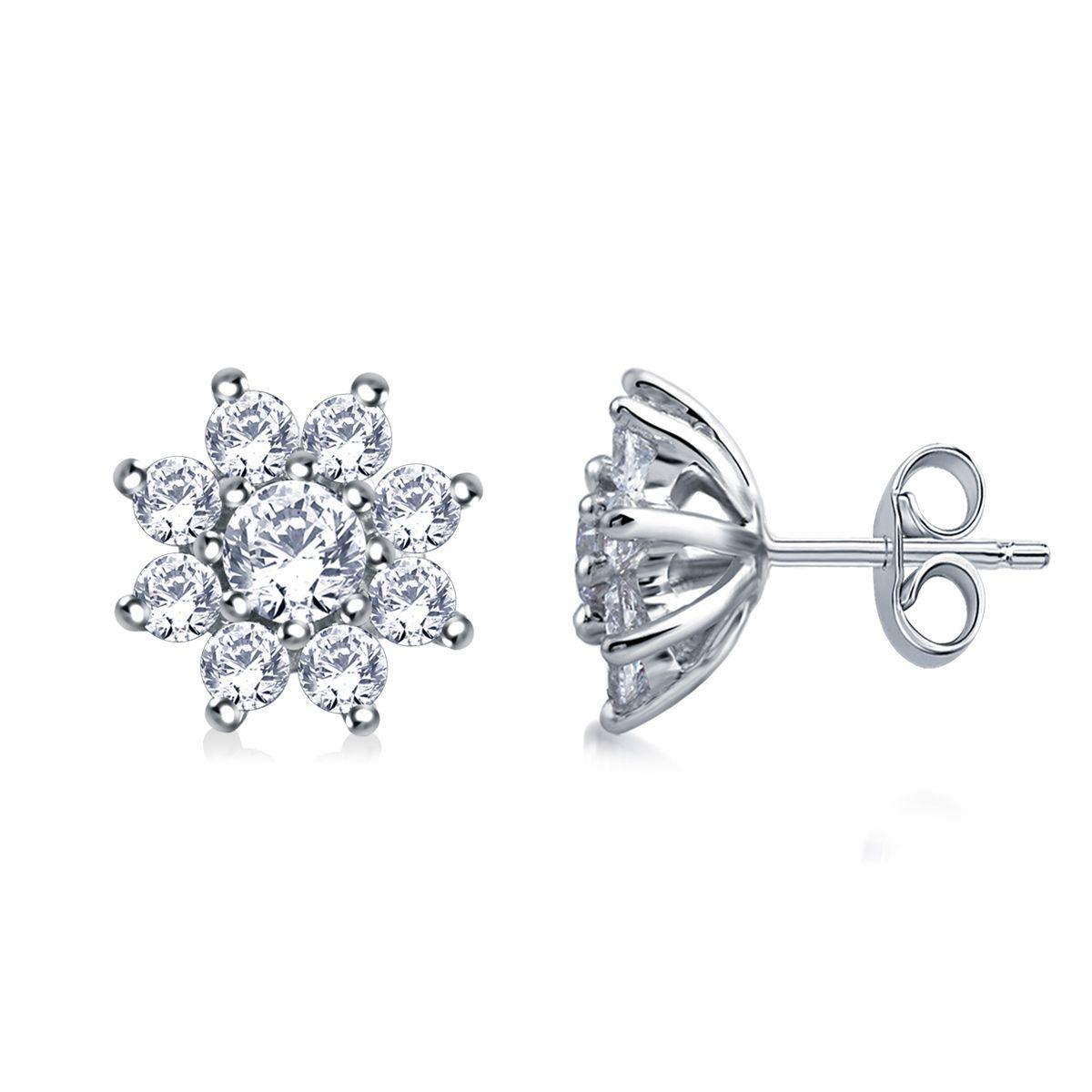 Round Diamond Flower Stud Earrings In 14k White Gold 1 3 4 Cttw Center 0 55cttw 2 Diamonds Halo 1 15 Cttw 1 Flower Earrings Studs Stud Earrings Earrings