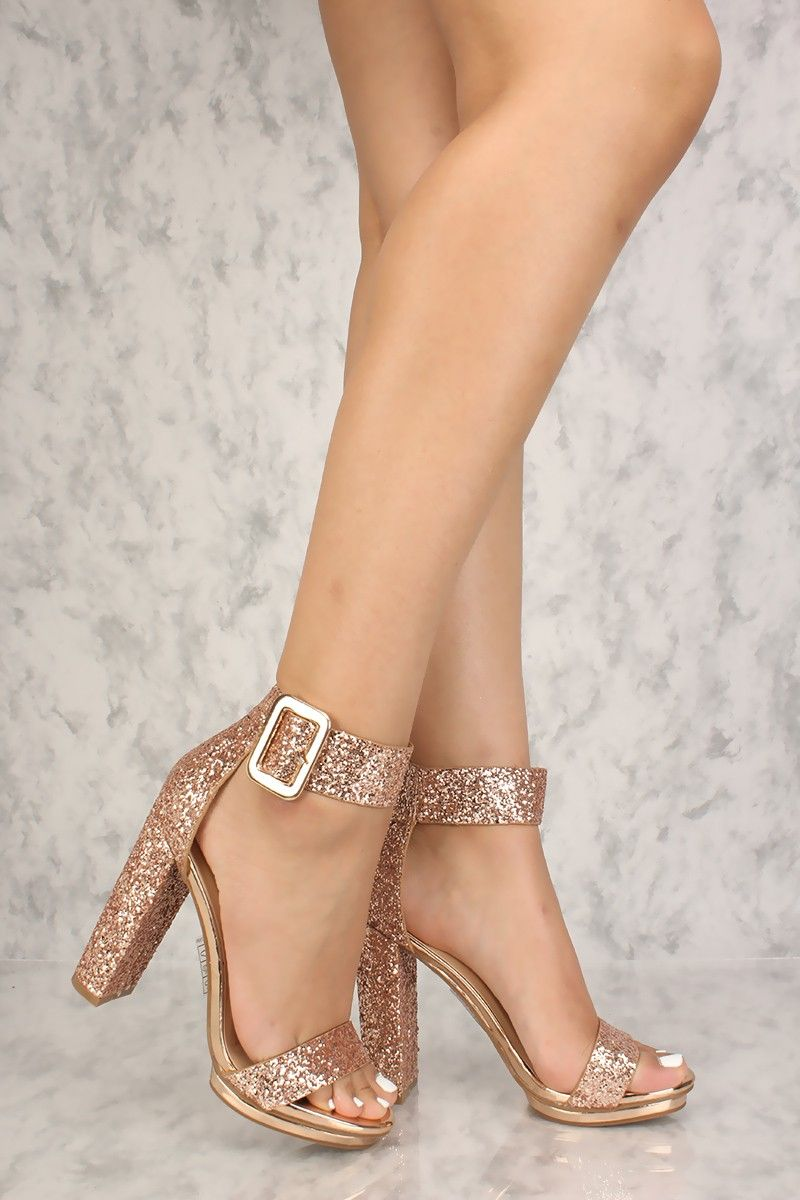 23b052d2e656 Sexy Rose Gold Chunky Heel Platform Pump Open Toe High Heels Glitter
