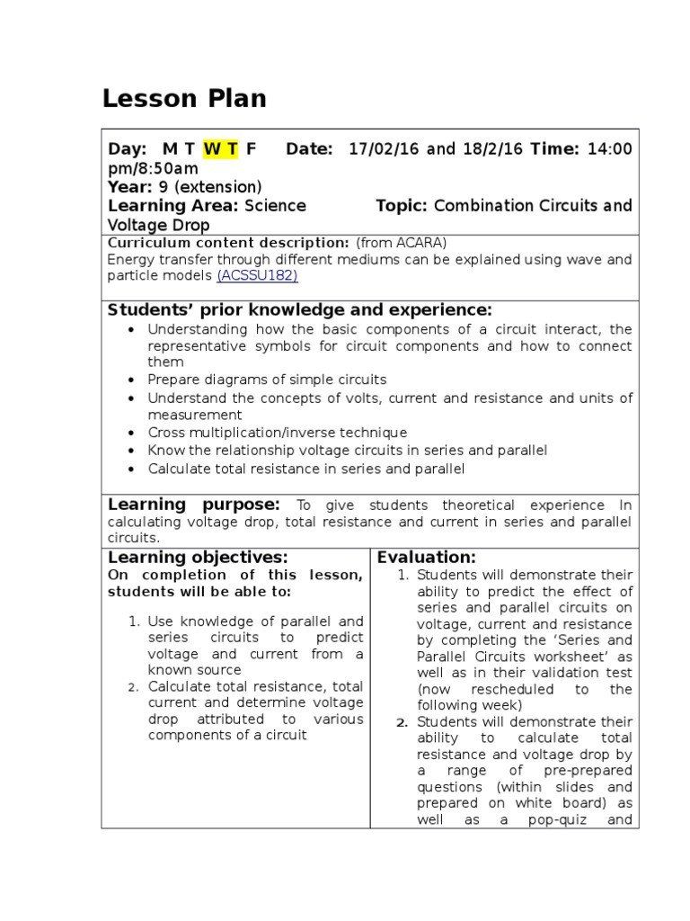 Combination Circuits Worksheet With Answers Lessons 5 And 6 Bination Circuits Worksheets Science Topics Answers