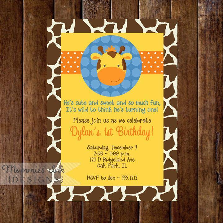 Birthday Invitation, Giraffe First Birthday Party Invitation ...