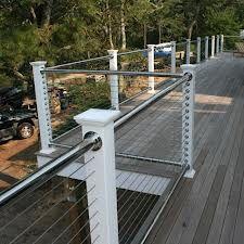 Best Horizontal Matte Chrome Balcony Railing And Grey Wood 400 x 300