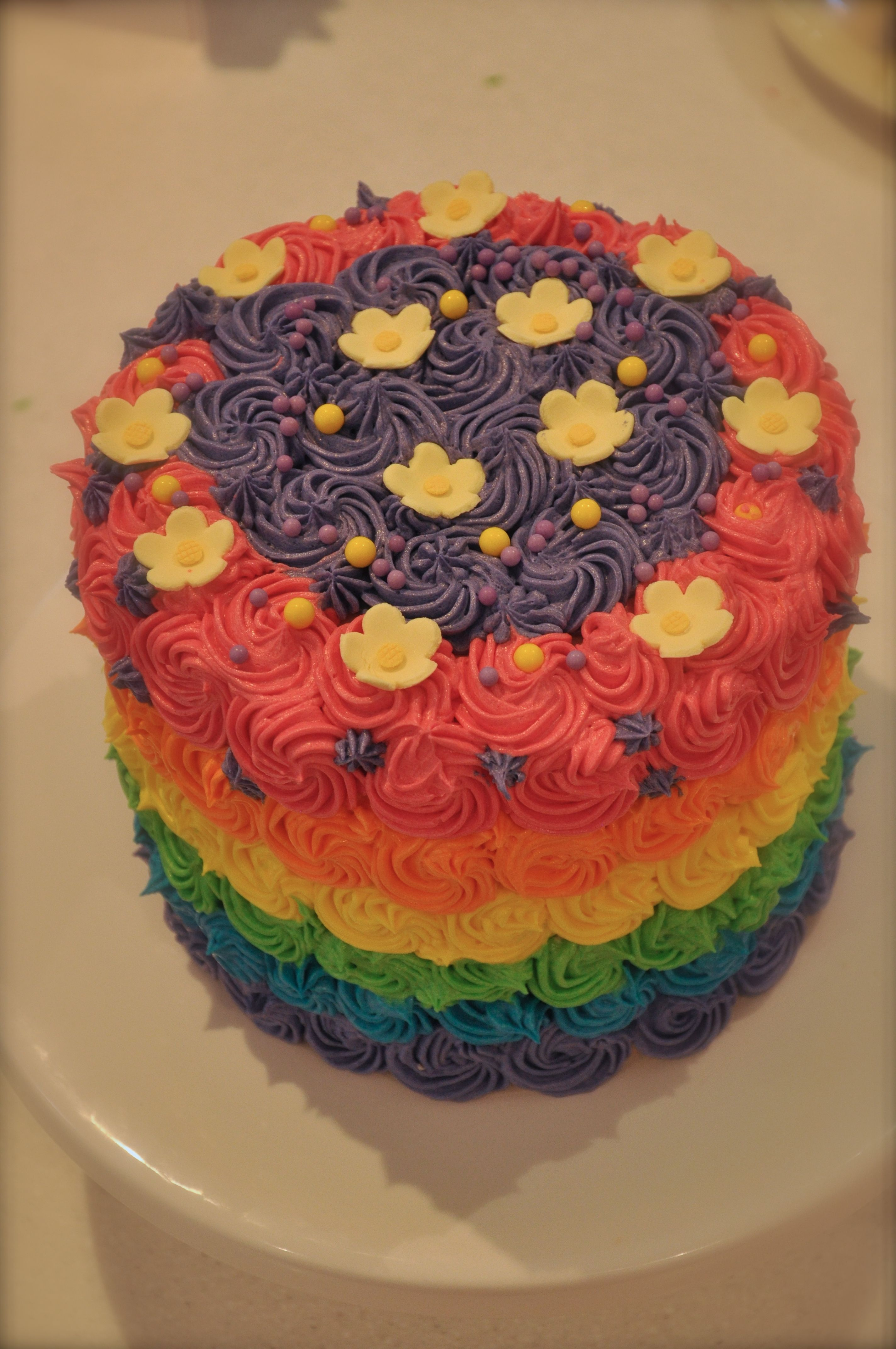 Emmas 8th Birthday Cakerainbow As Requested And She Decorated