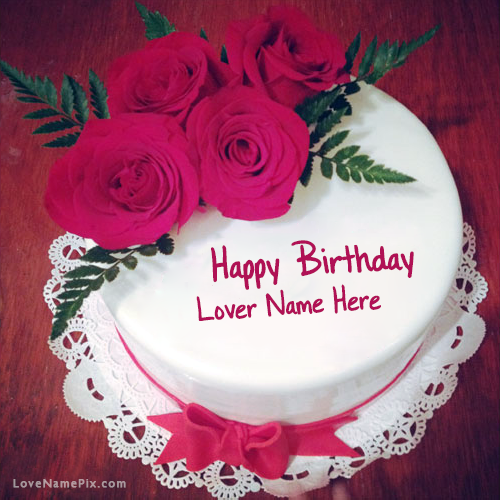 Roses Birthday Cake For Lover With Name Photo