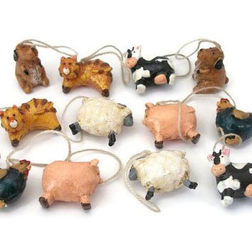 Vintage Farm Animals Made of Wood Lot of 12 Tiny Size