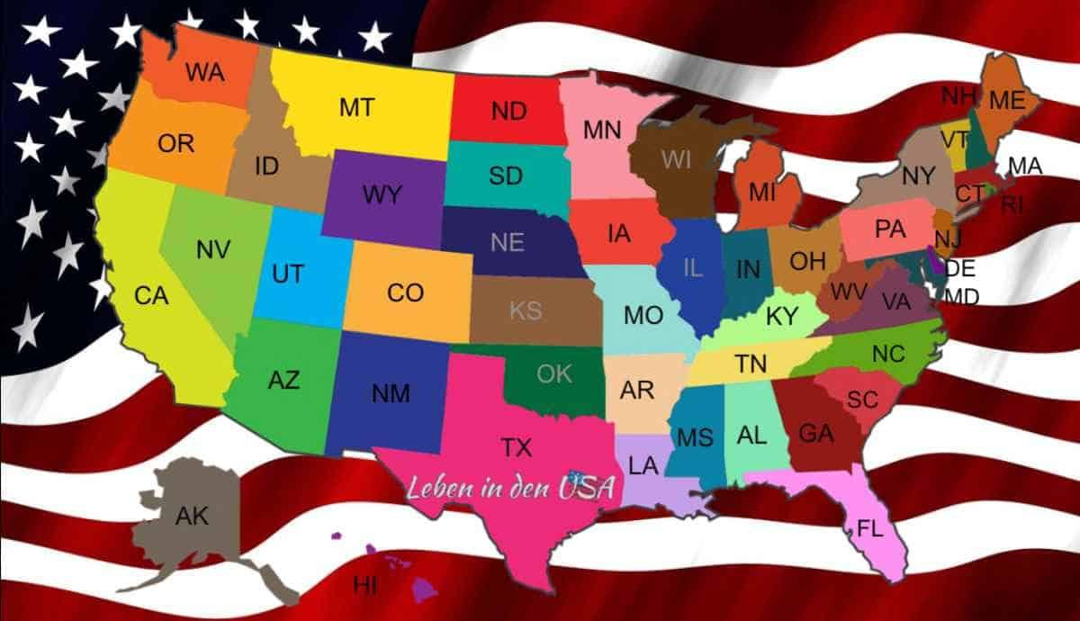 Staaten In Amerika Liste Mit Den Bundeststaaten Der Usa