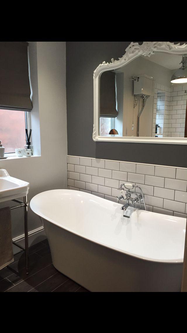 Exceptionnel Charlotte Edwards Bath Free Standing Bath Metro Tiles Dark Grey Traditional  Bathroom