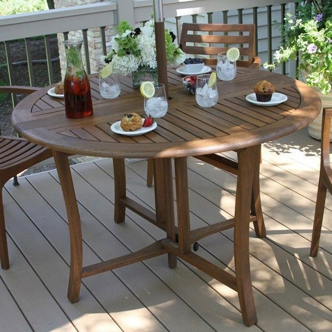 Big Round Table Large Collapsible Folding 48 Inch Wooden Diner Picnic  Outdoor