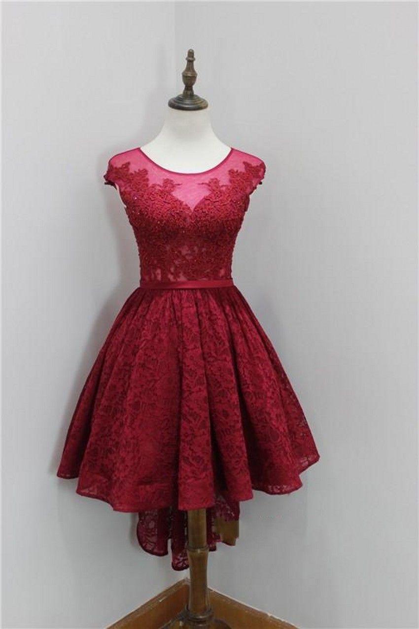 dark red scoop neck short homecoming dresses lace zipper back