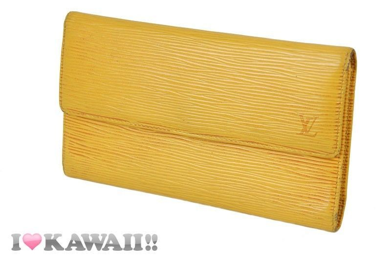 Auth Louis Vuitton Yellow Epi Tresor International Tri-fold Long Wallet Free Shi #LouisVuitton #Trifold