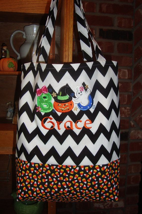b54a428115 Personalized trick or treat bag girly BOO applique by jessiemae ...