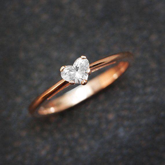 Solitär Verlobungsring, Herz Diamant Ring, 14K Weißgold Ringband, 0,3 CT Diamant-Ring, zarte Ring, e