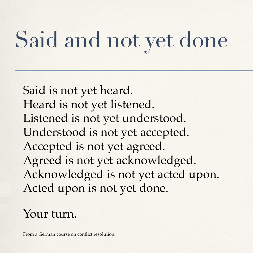 Said and not yet done      Said is not yet heard. Heard is not yet listened. Listened is not yet understood. Understood is not yet accepted. Accepted is not yet agreed. Agreed is not yet acknowledged. Acknowledged is not yet acted upon. Acted upon is not yet done.      Your turn.     From a German course on conflict resolution.
