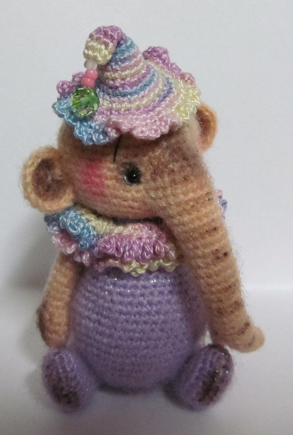 Miniature Thread Artist Crochet Teddy Bear/ Elephant PATTERN for Penny Elephant by Joanne Noel of Bayou Bears