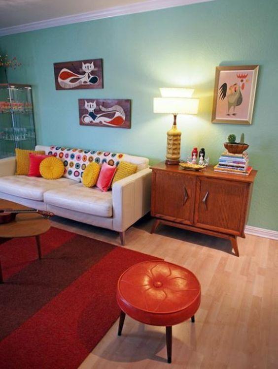 türkis farbpalette wandfarben hocker rot geile wohnideen Pinterest - wohnzimmer rot orange
