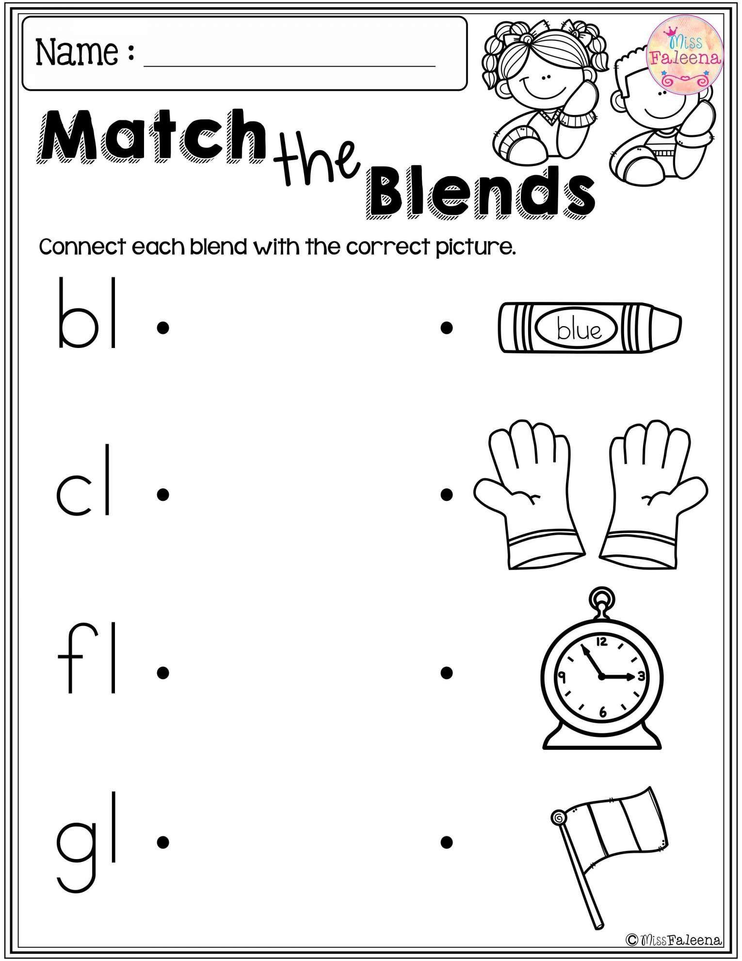 10 Blend Beginning Worksheet Kindergarten