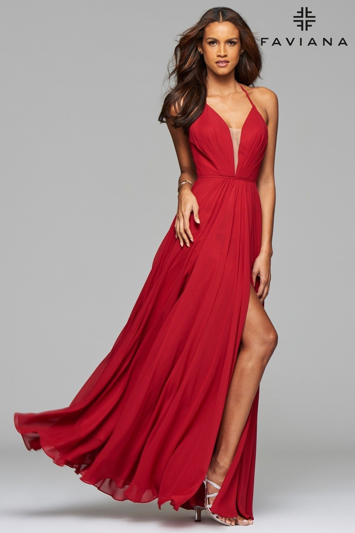 red chiffon full skirts and prom