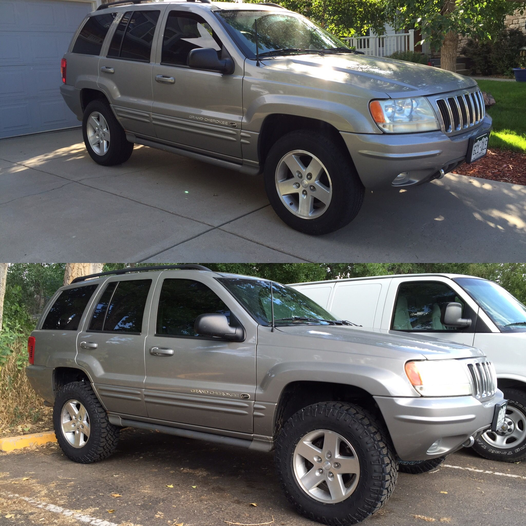 before and after of the lift 3 inch lift 32 inch tires my jeep wj pinterest jeep wj. Black Bedroom Furniture Sets. Home Design Ideas