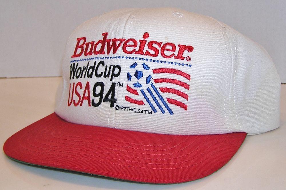 0c040bac192 Budweiser Beer Official Vintage 1994 World Cup USA Soccer Team Snapback Hat   Budweiser  BaseballCap