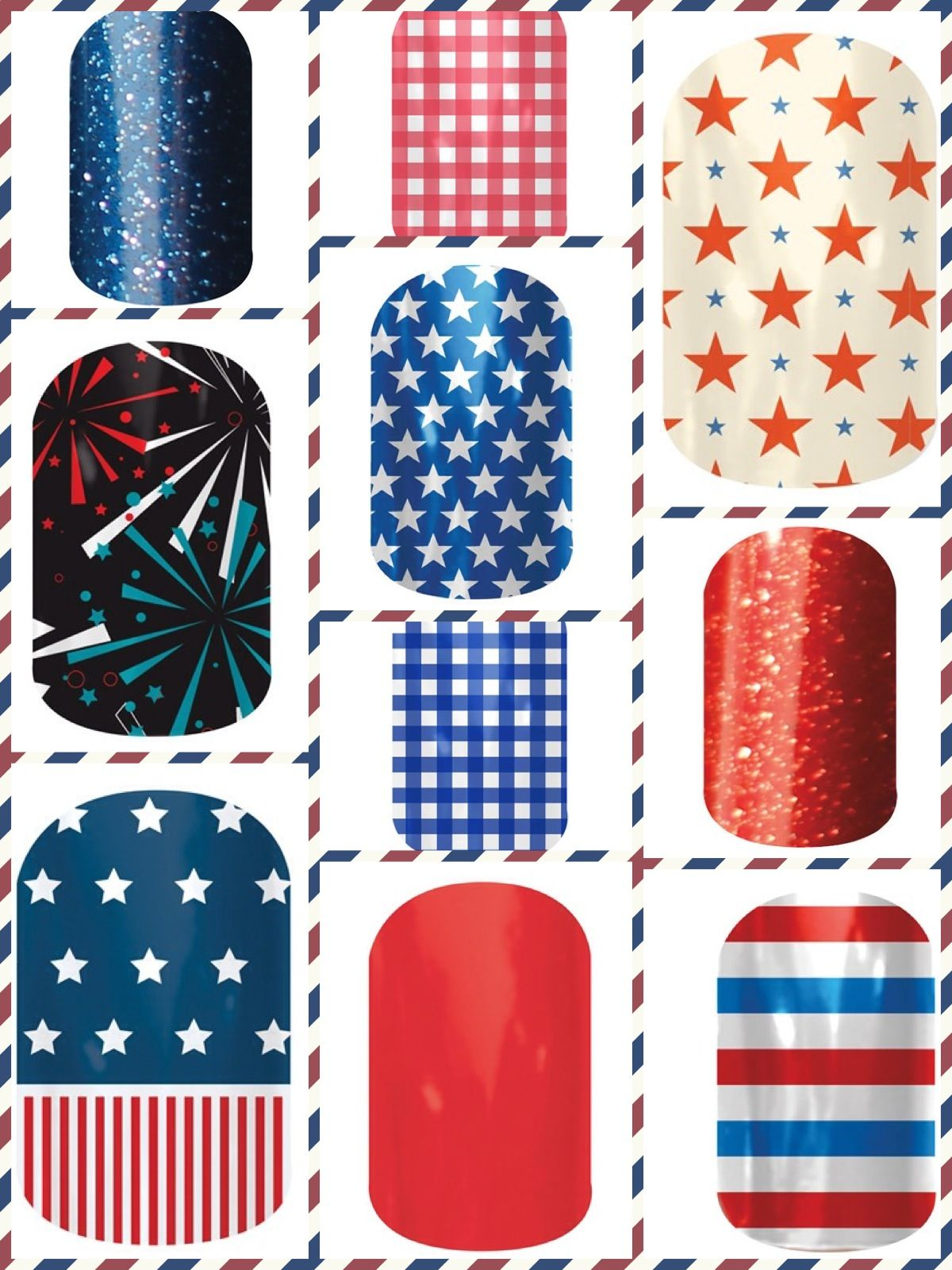 Look at all the options to have festive red, white and blue nails!  www.anj.jamberrynails.net