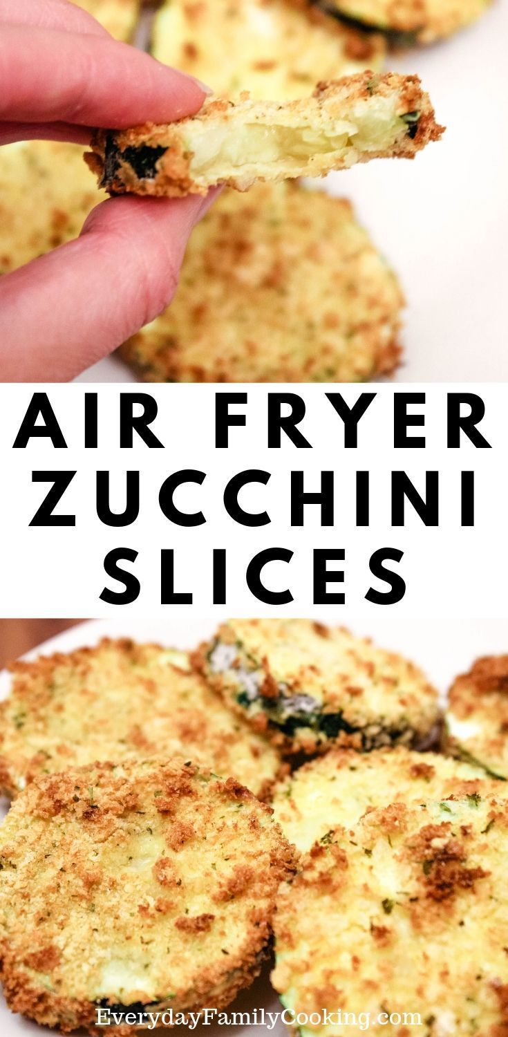 Photo of Easy Air Fryer Garden Zucchini Coins. Zucchini is sliced up and coated in breadc…