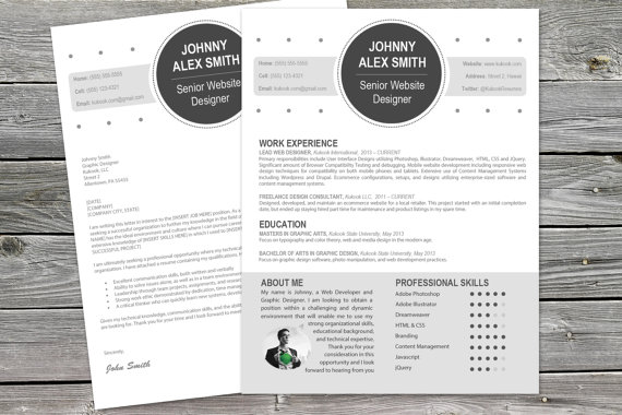 Modern Cover Letter Plus Resume Template For Creatives Products