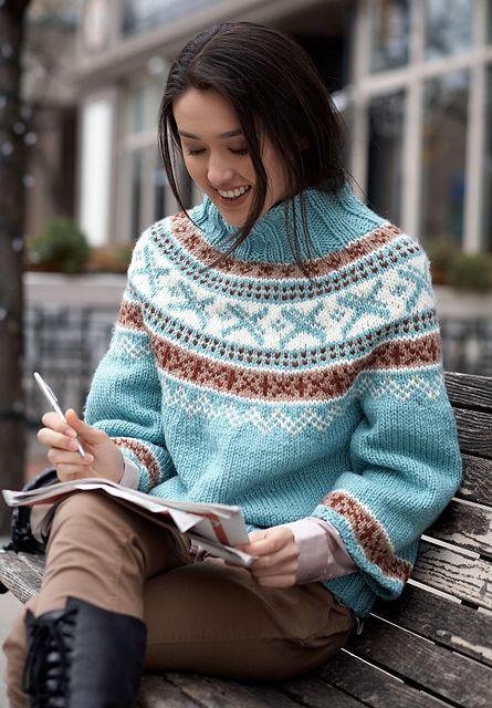 free pattern via Ravelry Park Place Pullovers by Bernat Design ...