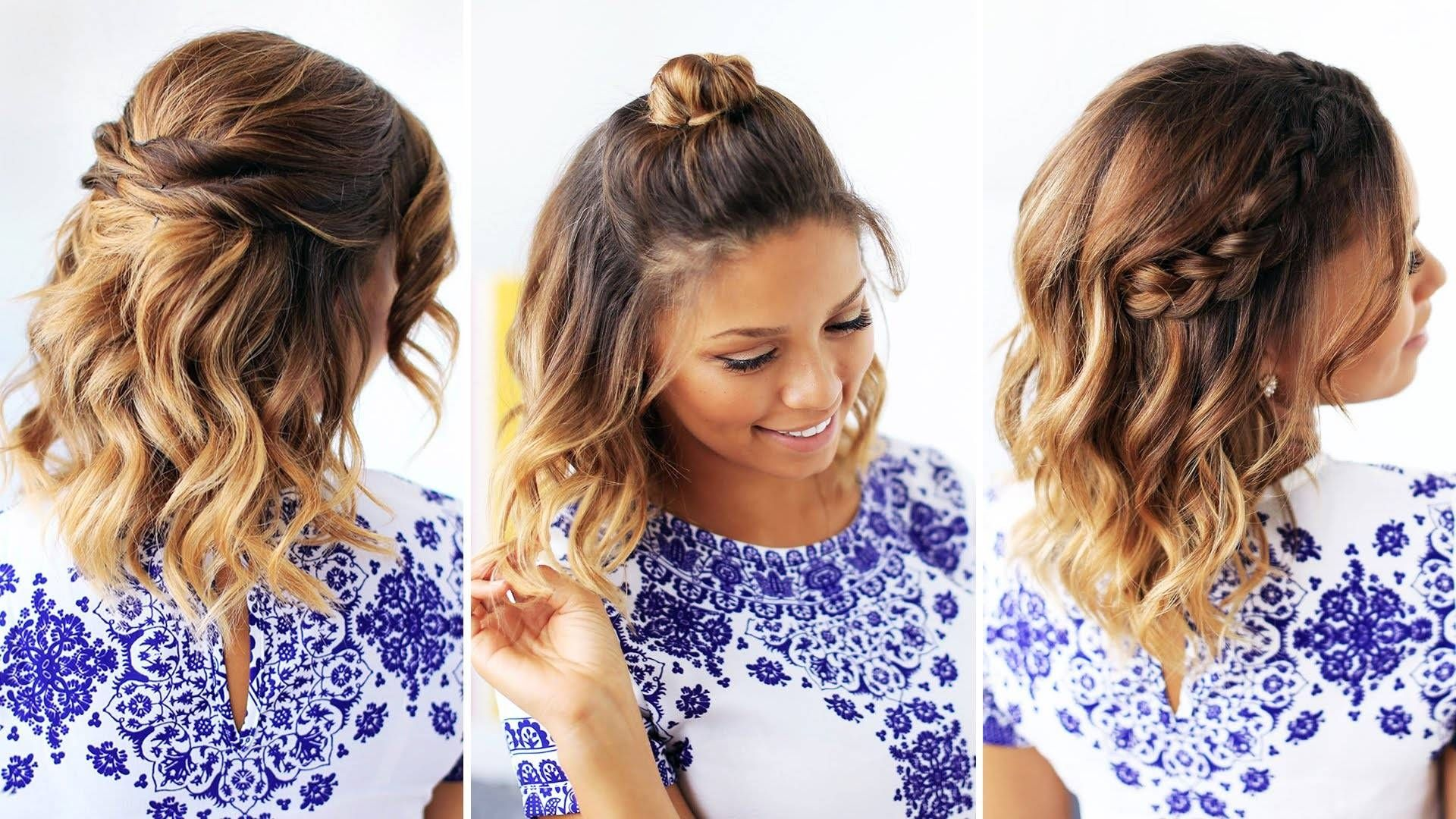Easy Hairstyles For Short Medium Curly Hair Cute