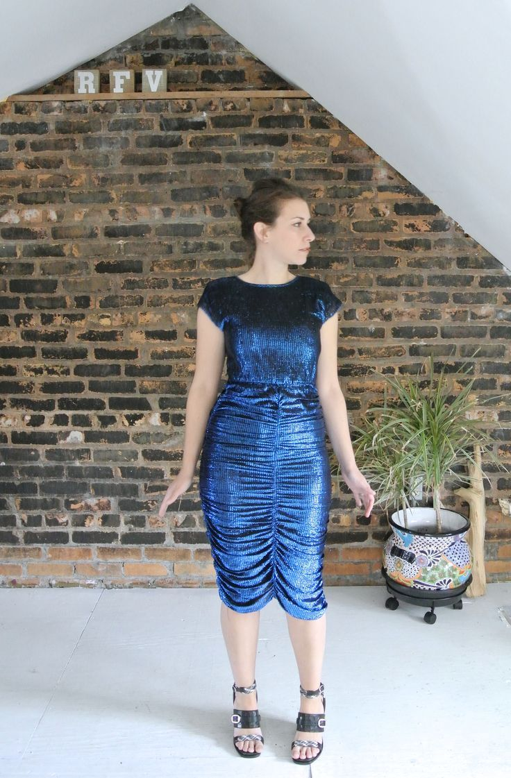 Us vintage electric blue rouged wiggle disco club dress