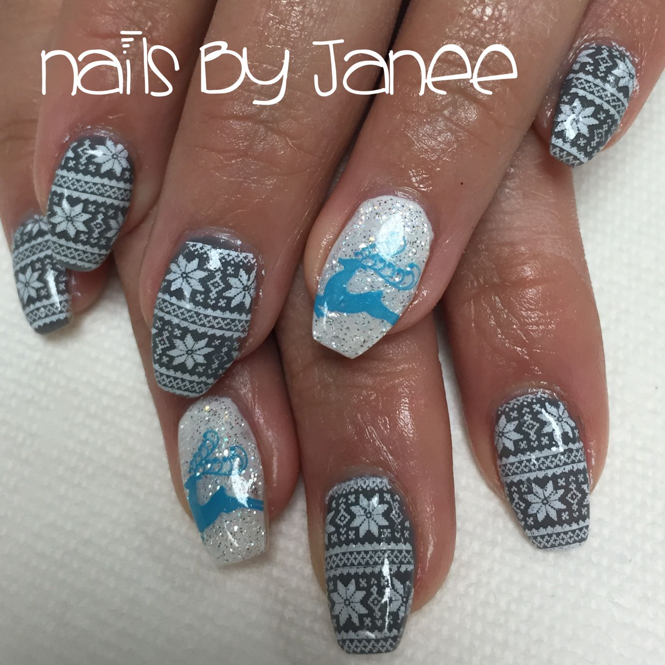 Grey and white Christmas sweater nails by Janee. A Wild Hair Salon ...