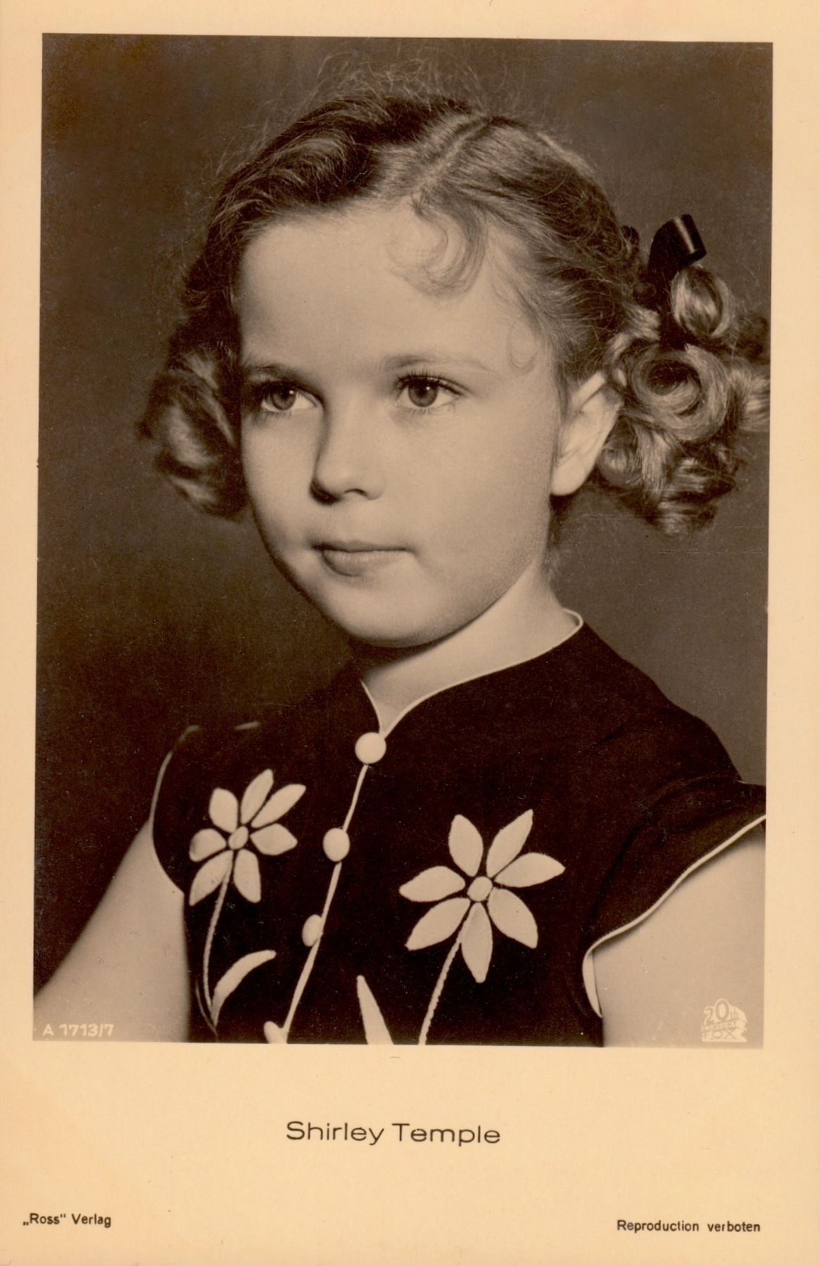 SHIRLEY TEMPLE 1930's original vintage ross verlag postcard. Ross movie star  postcards (Germany) are the most highly sought after for their unsurpassed  ...