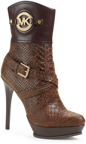 6696e8510c61 Michael Kors Michael Stockard Mixed leather Bootie in Brown (MOCHA) - Lyst