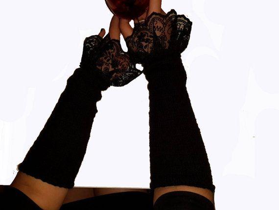 Sexy Black Night  Lace Long Gloves  Black Knitted  por GOOLASHOP