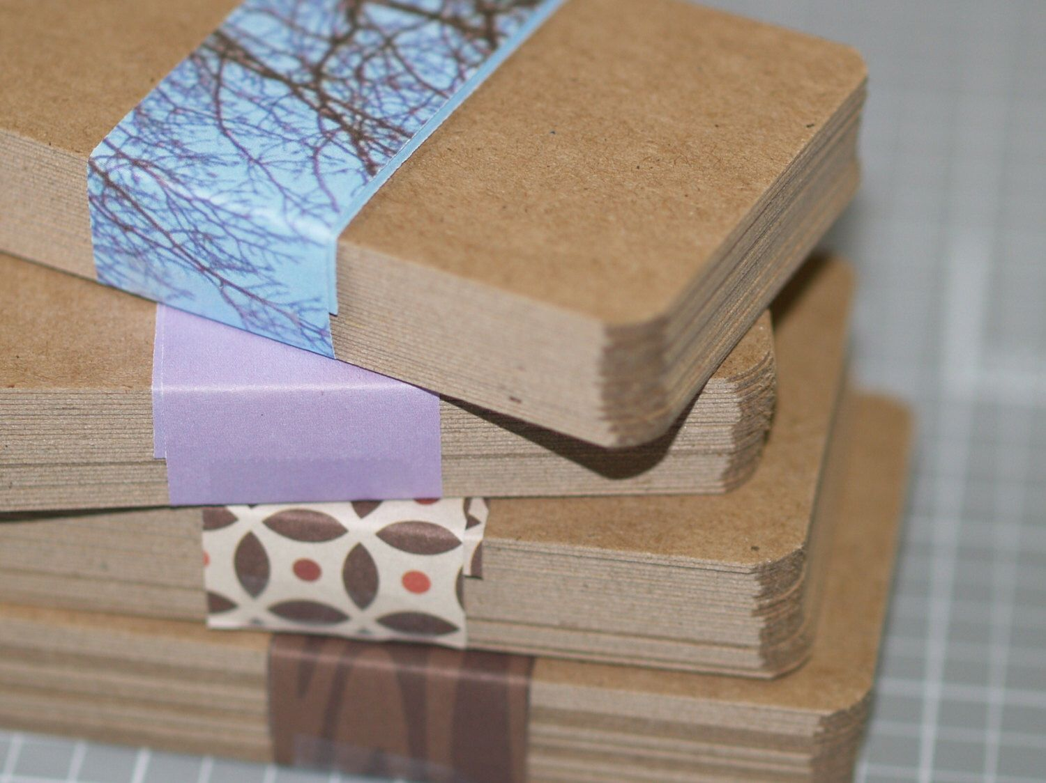 Kraft Business Card Blanks (50) ... Lightweight Chipboard Rounded ...