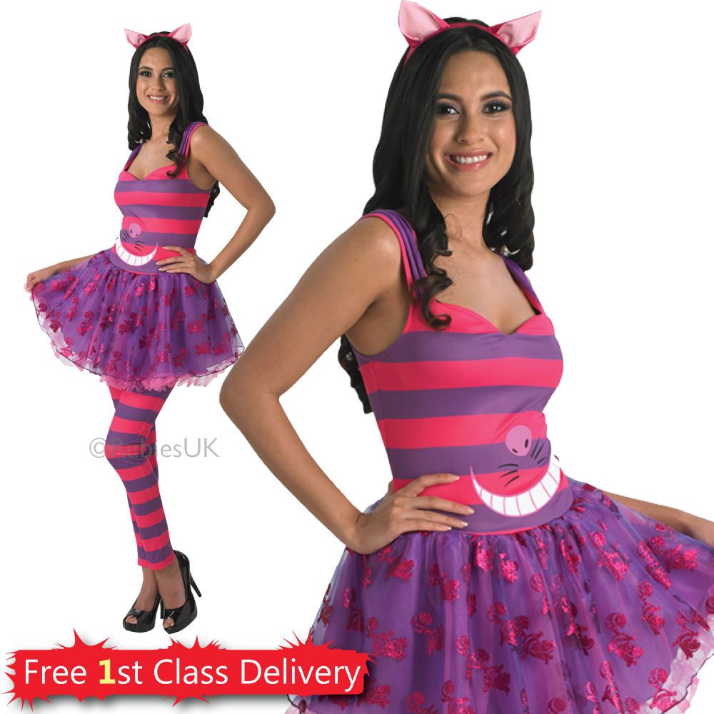 Las Cheshire Cat Fancy Dress Costume Disney Wonderland Hen Night Outfit Ebay