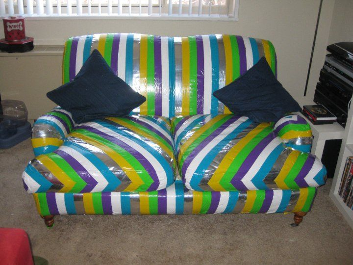 Duct tape furniture Old Omg This Duct Tape Couch Is Amazing Take That Cat For Destroying My Couch Pinterest Omg This Duct Tape Couch Is Amazing Take That Cat For Destroying