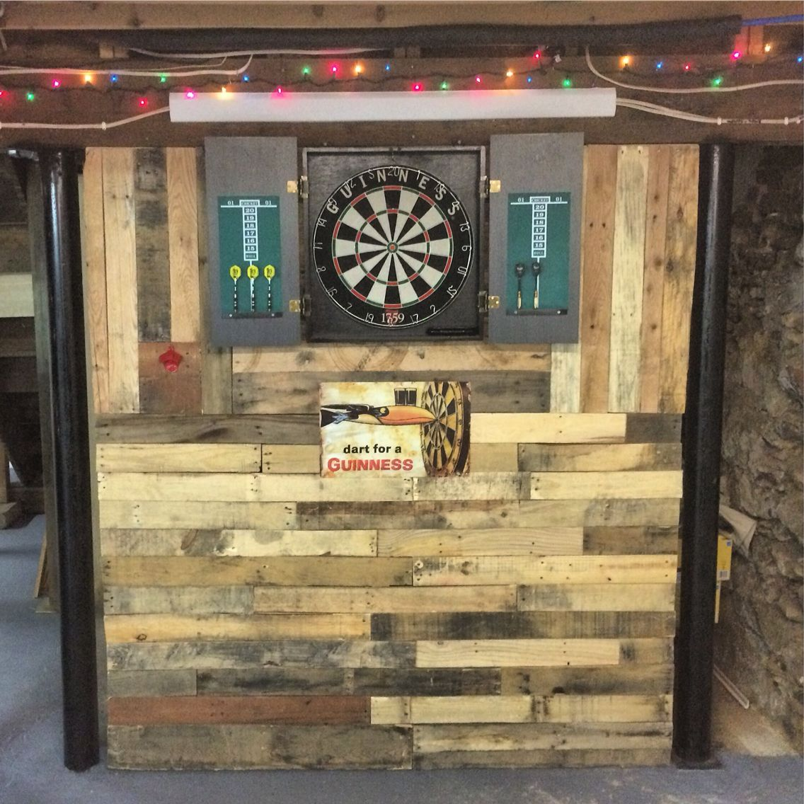 Pallet wall in man cave built for dart board. | House Ideas ...