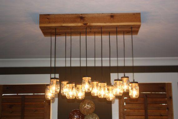 Barattolo di vetro lampadario con base di cedro di thehoneydew