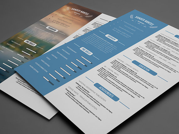 Captivating Clean Resume Template Photoshop PSD Instant By CursiveQDesigns