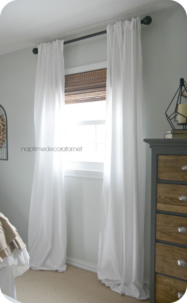 No Sew Curtains from a bed sheet | master bedroom wall design ...